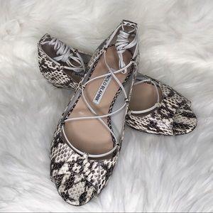 Manolo Blahnik Snakeskin Peep Toe Flats Size 7
